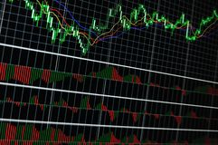 Stock graph. Stock market graph on big lcd display closeup macro Royalty Free Stock Photos