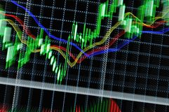 Stock graph. Stock market graph on big lcd display closeup macro Royalty Free Stock Photo