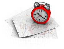 Stock Graph And Clock Stock Photo