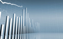 Stock Graph with Arrow. 3D Financial Abstract Business Background Royalty Free Stock Images