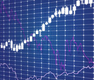 Stock graph and charts. On virtual screen, close up Stock Photography