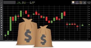 Stock graph. Make money rich Royalty Free Stock Image