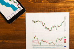 Stock graph and paper money for background .stock graph top vie Royalty Free Stock Image
