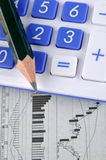 Stock graph, pencil and calculator. A pencil and a calculator put on stock chart, means business, finance, stock market statistic, and calculating Stock Photo