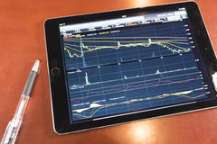 Stock graph with tablet Royalty Free Stock Photography