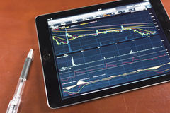 Stock graph with tablet Royalty Free Stock Photo