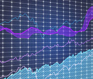 Stock graph on virtual screen. Close up Stock Photography