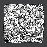 Stock  hand draw abstract flower, doodle wave pattern. bac Royalty Free Stock Photos