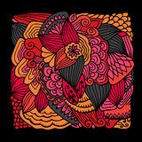 Stock  hand draw abstract flower, doodle wave pattern. bac Stock Photography
