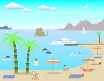 Beach. Stock Illustration Beach, vector image, can be used for illustration of relaxing on the beach Stock Photography