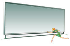 Stock illustration. Billboard for your information and a girl running past him.  Stock Images