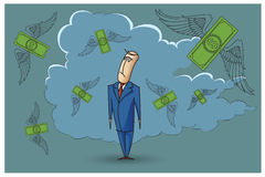 Stock Illustration. Bob. Funny characters drawn in the style of flat lines. Bankruptcy and debt Royalty Free Stock Image