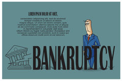 Stock Illustration. Bob. Funny characters drawn in the style of flat lines. Bankruptcy and debt Royalty Free Stock Photos