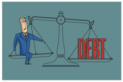 Stock Illustration. Bob. Funny characters drawn in the style of flat lines. Bankruptcy and debt Royalty Free Stock Photo