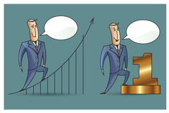 Stock Illustration. Bob. Funny characters drawn in the style of flat lines. Success Stock Photos