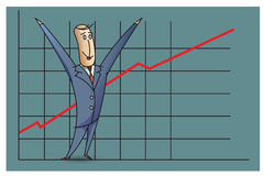 Stock Illustration. Bob. Funny characters drawn in the style of flat lines. Success Royalty Free Stock Images