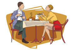 Stock illustration. Boy and girl at cafe table Royalty Free Stock Photography