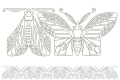Stock illustration. Butterflies of fine lines. Seamless pattern.  Stock Photography