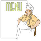 Stock illustration. Chef with a place under the menu Stock Photo