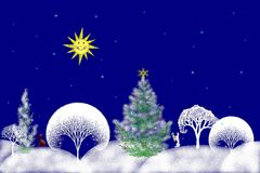 Stock Illustration of Christmas Day. Digital illustration of Christmas day in forest with white snowy trees , happy sun and animals . Great for greeting cards stock illustration