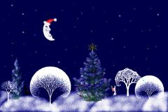 Stock Illustration of Christmas Night. Digital illustration of night forest with white snowy trees silhouettes , sleepy moon and animals getting ready for vector illustration