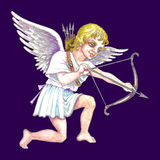 Stock illustration of Cupid. Hand drawn illustration of cupid with bow and arrow over purple background royalty free illustration