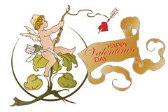 Stock illustration. Cupid angler. Congratulations Valentine's Day Stock Images