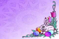 Stock Illustration of Easter Concept. Pretty illustration with easter eggs , tulips and bunny over purple background .Great holiday stationary template with lots royalty free illustration