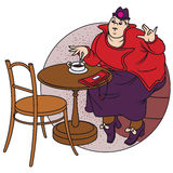 Stock illustration. Fat woman drinking coffee at a cafe Stock Photography