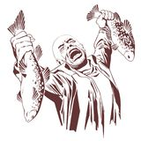 Fisherman screams with joy. Man with fish. Stock illustration.