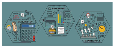 Stock illustration. Flat infographic. Bankruptcy and debt.  Royalty Free Stock Images
