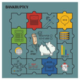 Stock illustration. Flat infographic. Bankruptcy and debt.  Stock Photo
