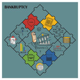 Stock illustration. Flat infographic. Bankruptcy and debt.  Royalty Free Stock Photo