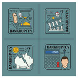 Stock illustration. Flat infographic. Bankruptcy and debt.  Stock Photography