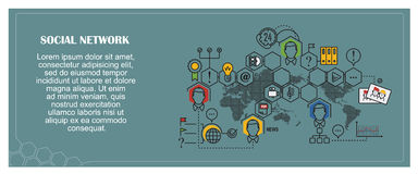 Stock illustration. Flat infographic. Social network Royalty Free Stock Images