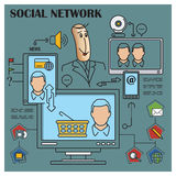 Stock illustration. Flat infographic. Social network Stock Images
