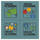 Stock illustration. Flat infographic. Social network Royalty Free Stock Photo