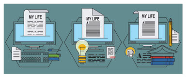 Stock illustration. Flat infographic. Tell your story Stock Photos