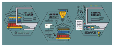 Stock illustration. Flat infographic. Virtual library Royalty Free Stock Image