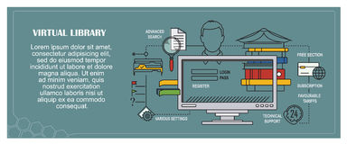 Stock illustration. Flat infographic. Virtual library Royalty Free Stock Photos