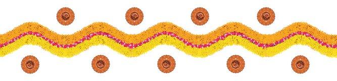 Stock illustration of flower rangoli or border pattern for Diwali or pongal made using marigold or zendu flowers and red rose peta Royalty Free Stock Image