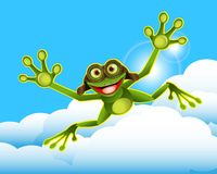 Stock Illustration Frog in the Clouds royalty free stock photos