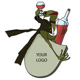 Stock illustration. Frog in a tuxedo, with a glass and bottle Stock Images