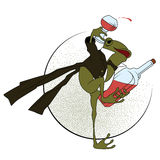 Stock illustration. Frog in a tuxedo, with a glass and bottle.  royalty free illustration