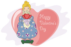 Stock illustration. Girl with a bouquet and hearts. Congratulations to the Valentine's Day Stock Photos