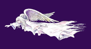Stock illustration of Guardian Angel. Hand drawn illustration of white flying guardian angel over contrast purple background stock illustration
