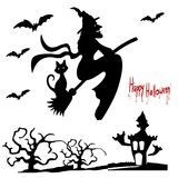 Stock Illustration Halloween Holiday, Witch on a broom, silhou Royalty Free Stock Photos