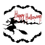 Stock Illustration Halloween Holiday, Witch on a broom, silhou Stock Photo