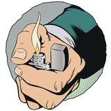 Hand with a cigarette lighter. Stock illustration. Royalty Free Stock Photo