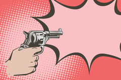 Stock illustration. Hands of people in the style of pop art and old comics. Weapon in hand, and the sound of the shot Royalty Free Stock Photo
